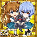 レイ&アスカ&ゴジラ(雷属性・ダブルスーパーレアカード)
